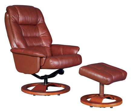 GFA Venus Reclining Red Wine Leather Chair and Footstool