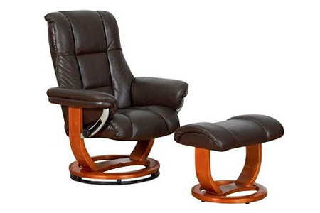 GFA Windsor Swivel Chocolate Recliner Chair and Footstool