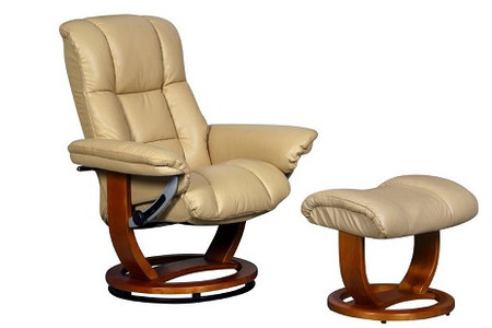 GFA Windsor Swivel Cream Recliner Chair and Footstool