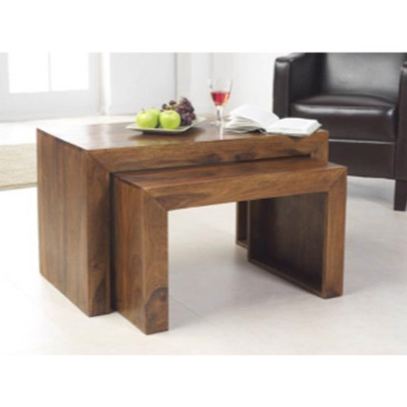 GRADE A2 - Light cosmetic damage - Heritage Furniture UK Laguna Sheesham Nest of 2 Coffee Tables