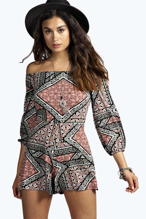 Geo Print Off The Shoulder Playsuit multi