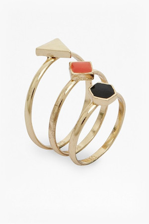 Geometric Ring Set - NOCTURNAL/SUNSET ORANGE/WHITE