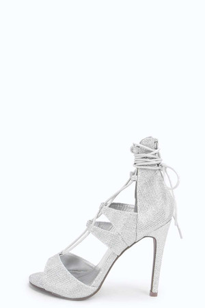 Glitter Ghillie Peeptoe Court silver