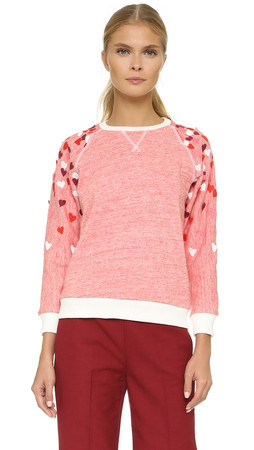 Giamba Embroidered Heart Trim Sweatshirt - Red