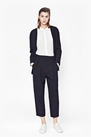 Giant Pinstriped Coat - NOCTURNAL