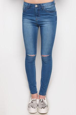 Gigi Blue Ripped Knee High Waisted Jeans