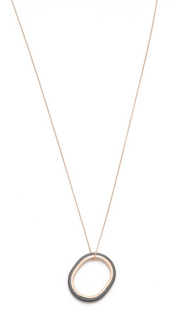 Ginette_Ny Ceramic Ring On Chain Necklace - Black/Gold
