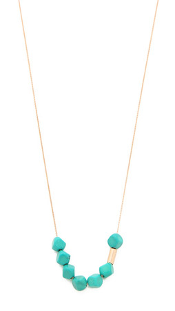 Ginette_Ny Fallen Sky Bead & Tube Necklace - Turquoise/Rose Gold