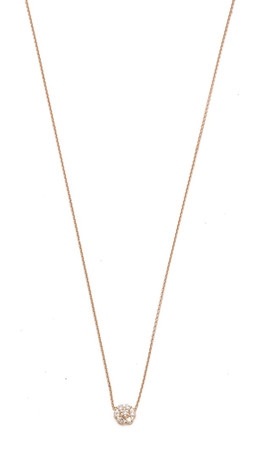 Ginette_Ny Mini Diamond Lotus Necklace - Clear/Rose Gold