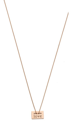 Ginette_Ny Mini Love Plate Necklace - Rose Gold