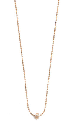 Ginette_Ny Mini Tube & Diamond Sautoir Necklace - Rose Gold