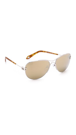 Givenchy Pinched Aviator Sunglasses - Shiny Palladium/Gold Mirrored