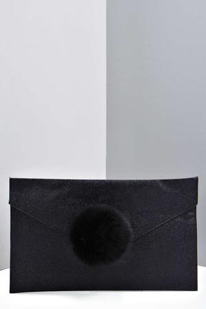 Glitter Clutch With Faux Fur Pom black