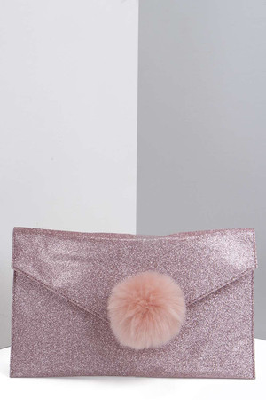 Glitter Clutch With Faux Fur Pom pink