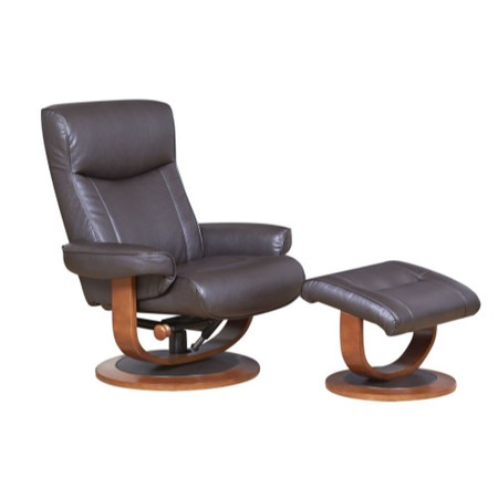 Global Furniture Alliance  Belmont Plush Bonded Leather Swivel Recliner & Footstool in Chocolate