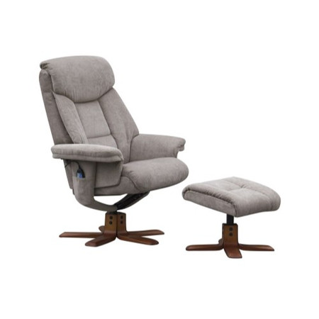 Global Furniture Alliance  Exmouth Velour Fabric Swivel Recliner & Footstool with Massage in Mink