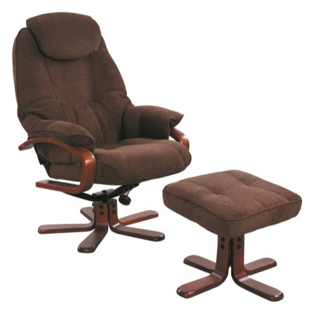 Global Furniture Alliance  Hong Kong Chenille Fabric Swivel Recliner & Footstool in Chocolate