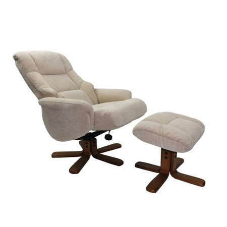 Global Furniture Alliance  Shangri La Chenille Fabric Swivel Recliner & Footstool in Beige