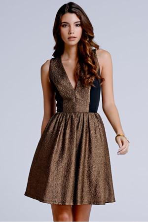 Gold Metallic Plunge Neck Skater Dress