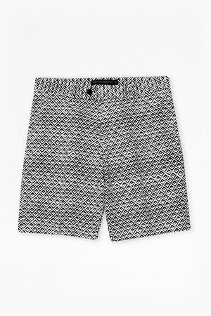 Gouache Diamond Print Shorts - Marine Blue/White