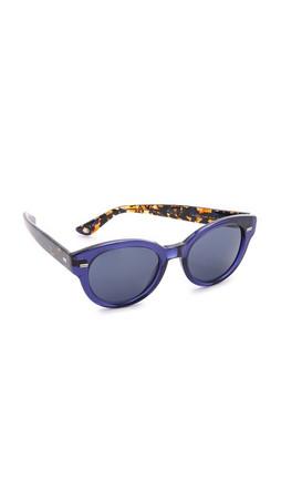 Gucci Round Two Tone Sunglasses - Blue Havana Black/Blue Avio