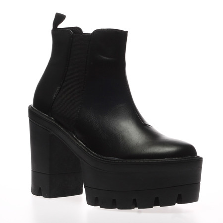 Gwen Black Cleated Sole Ankle Boots
