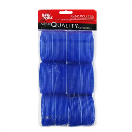 Hair Tools Jumbo Velcro Rollers Dark Blue 76mm