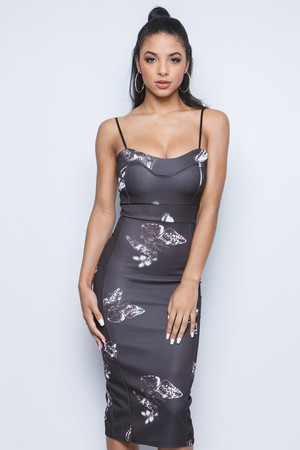 Hallie Black Butterfly Midi Dress