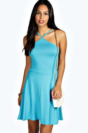Halter Skater Dress turquoise