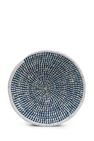 Hand-Woven Straw Bowl - Blue And White