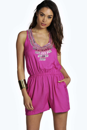 Hand Beaded Sleeveless Playsuit pink