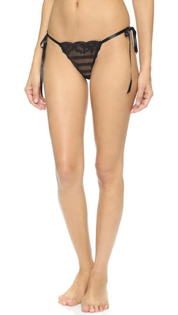 Hanky Panky After Midnight All Tied Up Side Tie Thong - Black/Plum