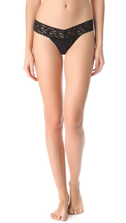 Hanky Panky Cotton With A Conscience Low Rise Thong - Black