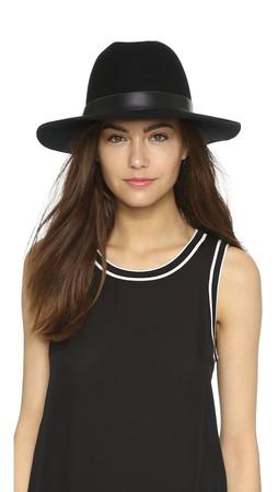 Hat Attack Wool Felt Medium Brim Hat - Black/Black
