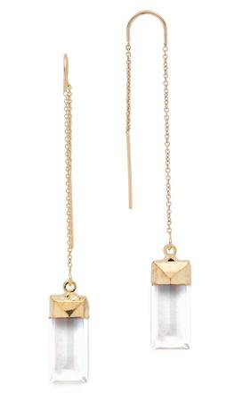 Heather Hawkins Baguette Threader Earrings - Clear/Gold
