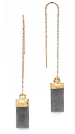 Heather Hawkins Baguette Threader Earrings - Labradorite/Gold
