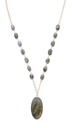 Heather Hawkins Long Cabochon Necklace - Labradorite