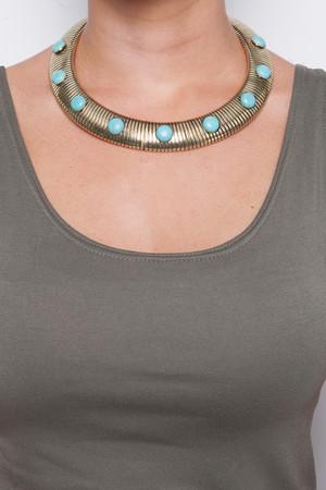 Helena Gold & Turquoise Chocker Necklace