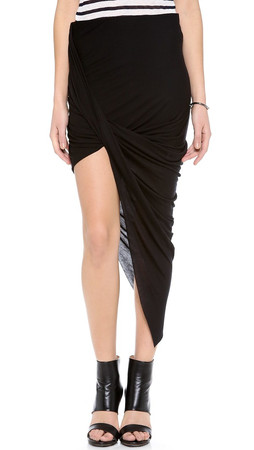 Helmut Lang Asymmetrical Wrap Skirt - Black