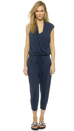 Helmut Lang Feather Jersey Jumpsuit - Navy Heather