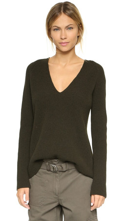 Helmut Lang V Neck Sweater - Dark Olive