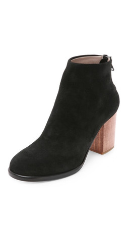 Helmut Lang Zip Ankle Wood Heel Booties - Charcoal