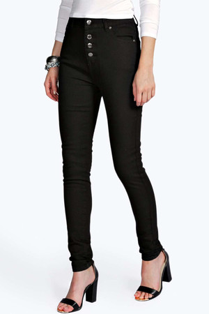 High Rise Button Front Skinny Jeans black