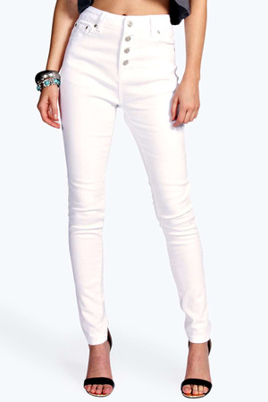 High Rise Button Front Skinny Jeans white