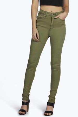 High Rise Skinny Jeans - khaki