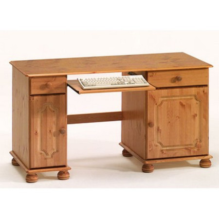 Home Office Double Pedestal Desk Pine