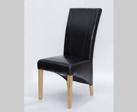 Homestyle GB Contempo Black Leather and Oak Dining Chair (Pair)