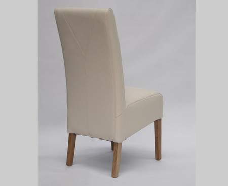 Homestyle GB Oslo Cream Leather and Oak Dining Chair (Pair)