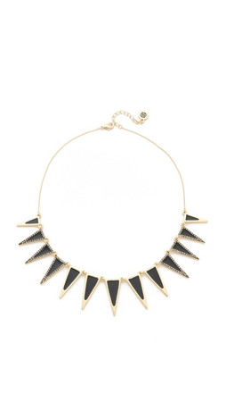 House Of Harlow 1960 Enameled Echelon Collar Necklace - Black/Gold
