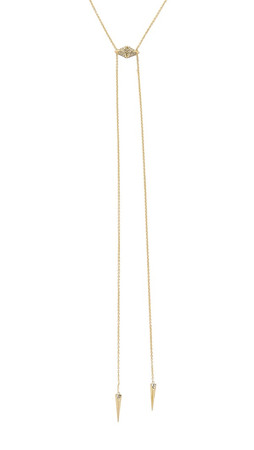 House Of Harlow 1960 Sama Bolo Tie Necklace - Gold/Smokey Grey